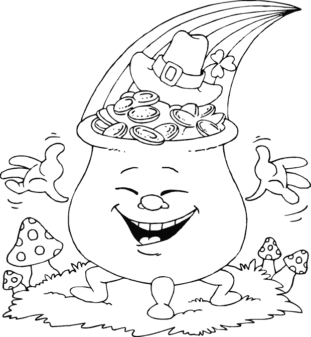 smiling pot of gold coloring page - coloring.com