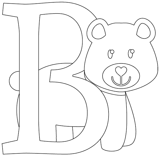 b is for bear coloring page coloringcom