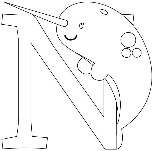 N is for narwhal coloring page for Narwhal coloring page