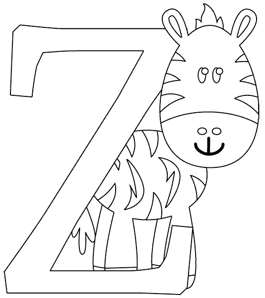 z is for zebra coloring pages - photo #25