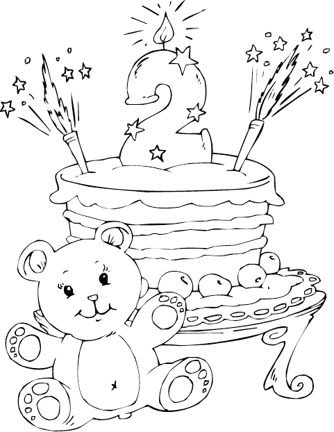 birthday cake age 2 coloring page coloringcom
