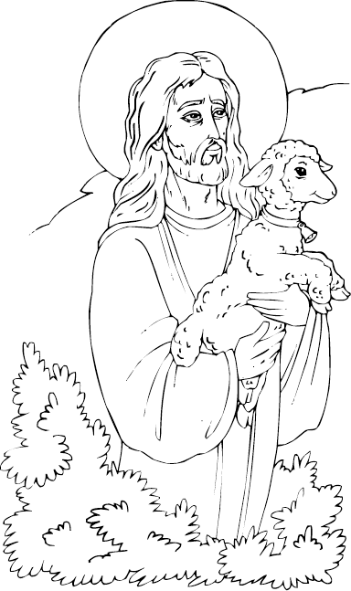 Christ With Lamb Coloring Page