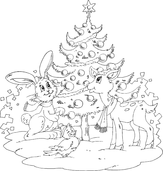 Animals around tree coloring page for Christmas animal coloring pages