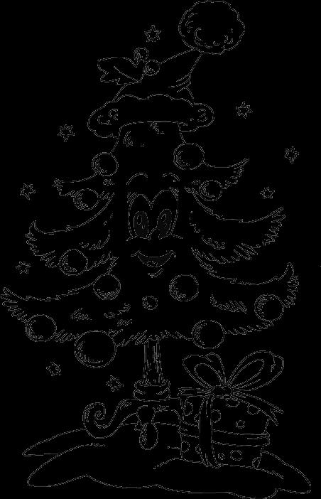 Santa and christmas tree coloring page - Tree With Santa Hat Coloring Page Coloring Com
