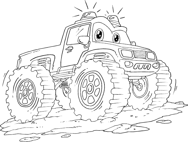 Monster Car Coloring Pages : Emergency monster truck coloring page