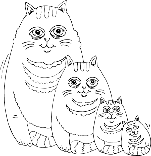 Fat Cat Family Coloring Page