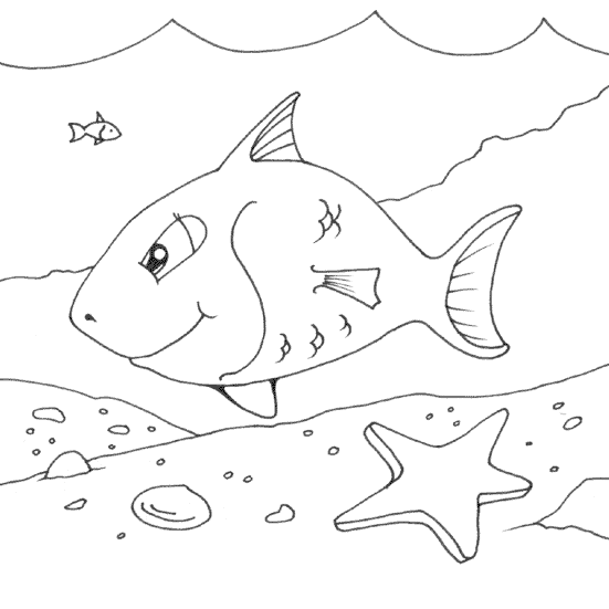 happy fish coloring page - coloring.com