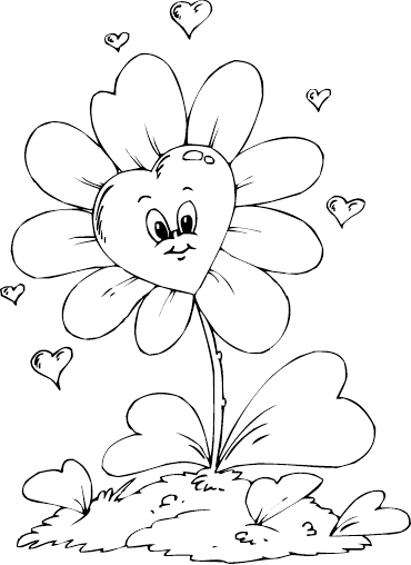 flower and heart coloring pages - photo#29