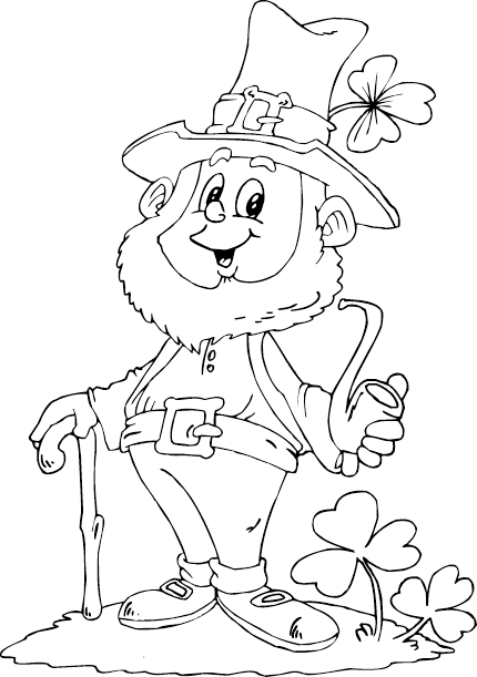 Leprechaun Holding Pipe Coloring Page
