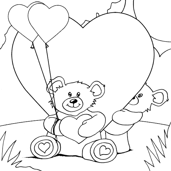 teddy bears and hearts coloring page coloringcom