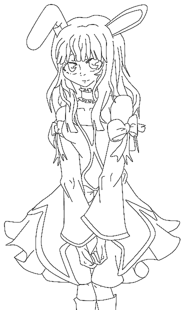 Anime Bunny Coloring Page Coloring Com