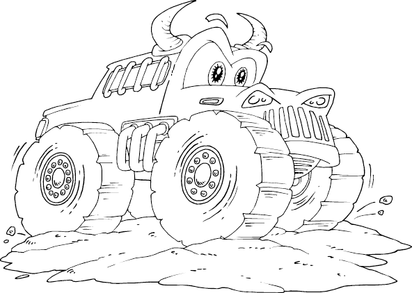 bull monster truck coloring page - coloring.com