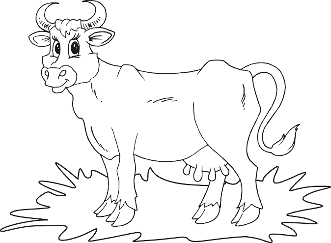 Simple Cow Coloring Page