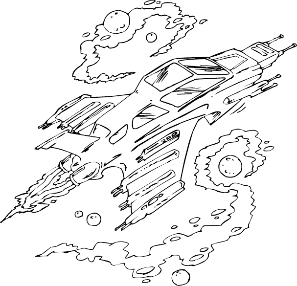 Spaceship coloring page