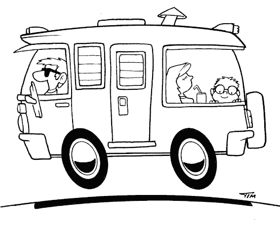 Dad And Family In Rv Coloring Page Coloring Com