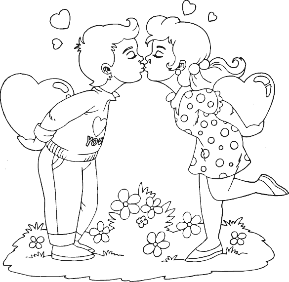 Captivating Valentine Boy And Girl Kissing