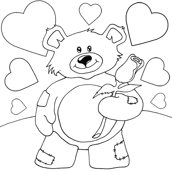 coloring pages teddy bear heart | teddy bear with rose coloring page - coloring.com