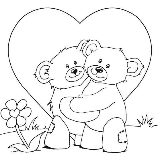 teddy bears cuddling coloring page